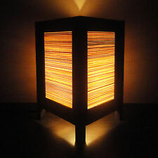 Asian Oriental Orange Bamboo Zen Art Bedside Table Lamp Wood Shades Lights