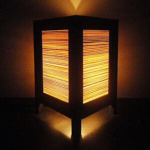 Asian Oriental Orange Bamboo Zen Art Bedside Table Lamp Wood Shades Lights