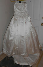 Reem Acra 8 10 'Rich' #9501 Ivory Beaded Bling Crystals Wedding Dress Gown VGUC