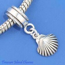 Clam Sea Shell .925 Solid Sterling Silver European Dangle Bead Charm Beach Euro