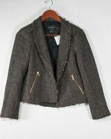 Club Monaco Women's Size 4 Brown Blazer Tweed Cropped Coat Zipper Pocket Jacket