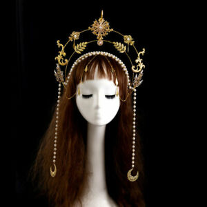 Gothic Women Golden Leaves Hair Band Moon Pendant Chain Crown Costume Headpiece