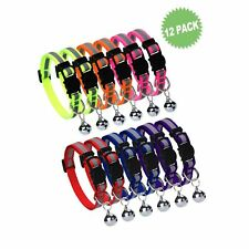 HOMIMP Cat Breakaway Collars Set 12 PCS with Bell Reflective Strap & Safety B...