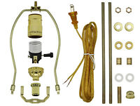 Gold Make-A-Lamp Kit With All Parts & Instructions for DIY Lamp Repair