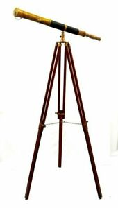 "Marine navy nautical brass 39"" telescope single barrel with wooden tripod stand"