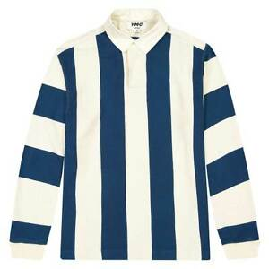 YMC JJ Rugby Ecru and Blue Stripe Shirt