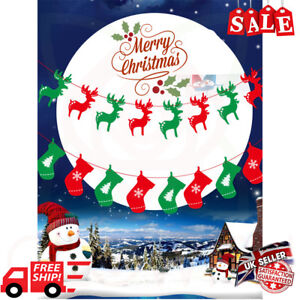 Merry Christmas Banner Pennant Hanging Flag Banner Bunting Xmas Party Decoration