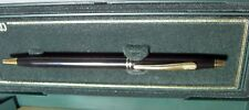 CROSS CENTURY BLACK LACQUER & GOLD BALLPOINT PEN WITH DOUBLE RING  NEW IN BOX