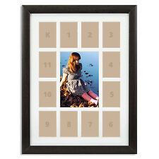 "Craig Frames, 12x16"" Dark Brown Picture Frame, White Collage Mat, 13 Openings"
