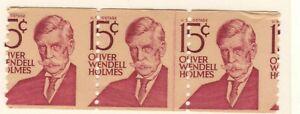 US EFO Scott #1305E 15c Holmes Coil strip of 3 major misperf mint!