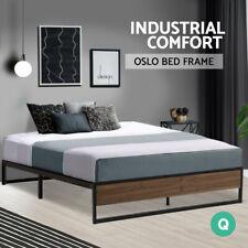 Metal Bed Frame Queen Size Mattress Base Platform Foundation Wooden Black OSLO