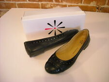 NEW Isaac Mizrahi Live! Sage Black Leather Captoe Ballet Flats Shoes Size 8 M US