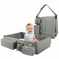 Zooawa Foldable Travel Bassinet, 3-in-1 Baby Bed Diaper Bag Changing Station