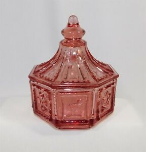 Vintage Imperial Glass Butterpat Octagonal Pink Covered Candy Dish
