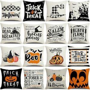 Cushion Cover Fall Halloween Pumpkin Trick Treat Farmhouse Throw Pillow Decor
