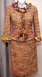 ST.JOHN Confetti Green Floral Ruffle Womens Suit Knit Shimmer Jacket Skirt Sz 14