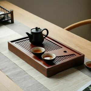 Tea Tray Natural Bamboo Wood Rectangle Water Storage Board Table Chinese Gift
