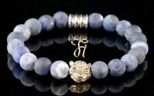 Sodalithe Bleu Mat 8mm Bracelet de Perles or Tête Tigre