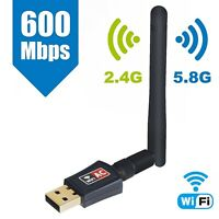 Angitech USB WiFi Adapter 600Mbps High Speed Dual Band 5.8GHz 2.4GHz Antenna