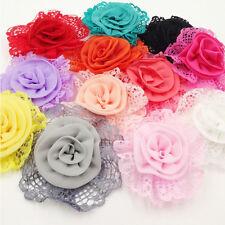 10PCS Large Trim Chiffon Ribbon Bows Flowers Appliques Wedding 85MM B261