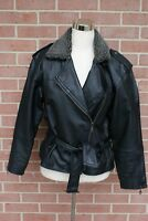 Women Leather Limited Jacket Black Biker Motorcycle Belted Size S