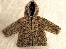 Bon Bebe Girl Faux Fur Animal Print Coat Toddler Size 18 Mo
