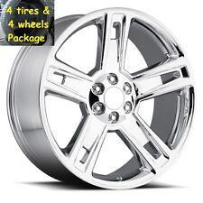 "4) 22"" Tires Set Chrome Chevy 2015 Silverado Wheels Rims Package GMC 22 24"
