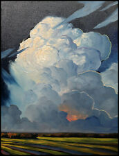HAWKINS Western Clouds Landscape Impressionism Tonalist Art Oil Painting  Signed