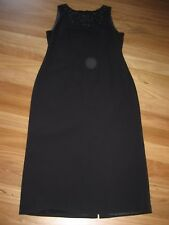 LADIES CUTE BLACK LINED POLYESTER LONG SMART EVENING DRESS BY KATIES - SIZE 12