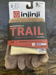Injinji Performance Trail Midweight Mini Crew Length Toe Socks Oat brown Small