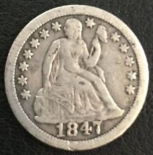 USA One DIME Silver 1847 Très belle 2,54 gr