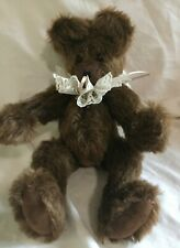"""Vintage 10"""" Jointed Brown Mohair Humpback Teddy Bear glass eyes lace collar"""
