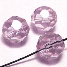 Lot de 10 perles à FACETTES 14mm en Cristal de Bohème Rose clair