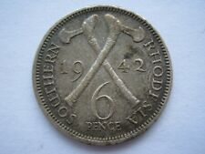 Southern Rhodesia 1942 Sixpence VF with toning