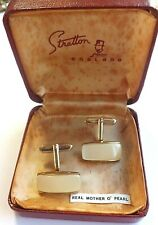 Vintage 1950s Stratton MOTHER OF PEARL and Gold Tone Cufflinks in Box Unused