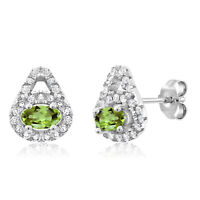1.02 Ct Oval Green Peridot Gemstone Birthstone 925 Sterling Silver Earrings