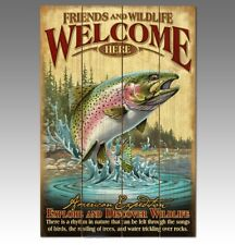 American Expedition Wood Rainbow Trout Welcome Sign FACTORY NEW