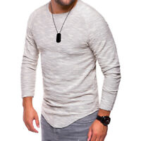 Mens Slim Fit T-Shirt Short / Long Sleeve Crew Neck Muscle Casual Gym Tee Tops