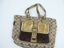 Women's Brown & Metallic Gold Coach Tote Bag Purse
