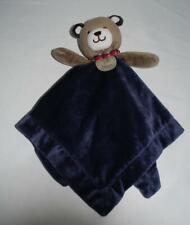 Carters My First Teddy Bear Navy Blue Tan Security Blanket Rattle Lovey Satin