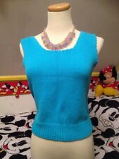 vintage 80's SWEATER VEST TURQUOISE SM PEPPERS