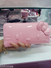 Hello Kitty Pink Enamel Long Wallet Zip Around Clutch Purse Bag K547