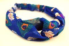 Lady Chiffon Retro Boho Blue Peacock Cross Bandana Hair band Headband Wrap Scarf