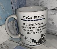 Vintage Dad's Motto White Coffee Tea Mug Hallmark Cards Shoebox Greetings