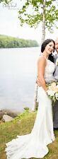 BEADED ILLUSION AND CREPE SHEATH WEDDING DRESS  SV771 David's Bridal $828 size 2