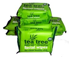 8 x XPEL TEA TREE CLEANSING FACIAL WIPES 25 PER PACK (4 x TWIN PACKS 200)