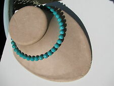VINTAGE SIGNED VOGUE TURQUOISE GENUINE STONE BEADS BIRDS NEST CLASP NECKLACE