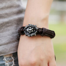 Modish Men Jewelry Braided Dragon Head Wrap Wrist PU Leather Cuff Bracelet FT