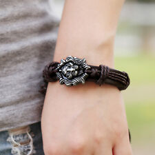 Men Jewelry Braided Dragon Head Wrap Wrist Faux Leather Cuff Bracelet WB