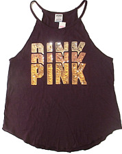 NEW! Victoria's Secret PINK Bling Rose Gold Sequins Black Orchid Tank Top Large